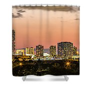 Miami Sunset Skyline Shower Curtain