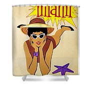 Miami Travel Poster Shower Curtain