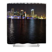 Miami's Downtown At Night Shower Curtain