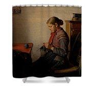 Michael Ancher - Skagen Girl, Maren Sofie, Knitting. Shower Curtain