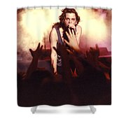 Michael Hutchence And Inxs 1985 Shower Curtain by Sean Davey