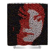 Michael Jackson Bottle Cap Mosaic Shower Curtain by Paul Van Scott