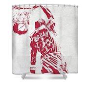 Michael Jordan Chicago Bulls Pixel Art 1 Shower Curtain