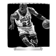 Michael Jordan Drives To The Basket Shower Curtain