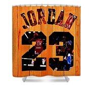 Michael Jordan Wood Art 1a Shower Curtain