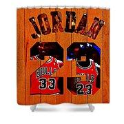 Michael Jordan Wood Art 1b Shower Curtain