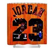 Michael Jordan Wood Art 1c Shower Curtain