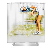 Michelle Wie Of Usa Putting At The  Lpga Lotte Championship  Shower Curtain