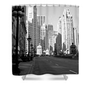 Michigan Ave Tall B-w Shower Curtain