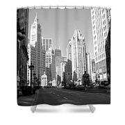Michigan Ave Wide B-w Shower Curtain