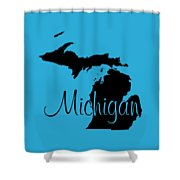 Michigan In Black Shower Curtain