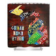 Michigan License Plate Map Shower Curtain by Design Turnpike
