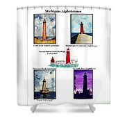 Michigan Lighthouses Montage Shower Curtain