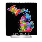 Michigan Map Color Splatter 2 Shower Curtain