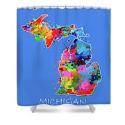 Michigan Map Color Splatter 3 Shower Curtain