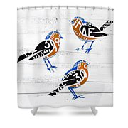 Michigan Robins State Bird Recycled Vintage License Plate Art On White Barn Wood Shower Curtain