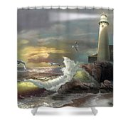 Michigan Seul Choix Point Lighthouse With An Angry Sea Shower Curtain