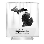 Michigan State Map Art - Grunge Silhouette Shower Curtain