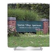 Michigan State University Spartan Village Signage Shower Curtain