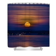 Michigan Super Moon Over Muskegon Lake Shower Curtain