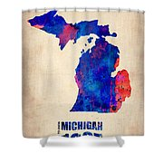 Michigan Watercolor Map Shower Curtain