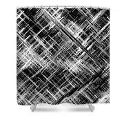 Micro Linear Black And White Shower Curtain