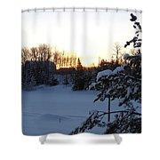 Mid January Winter Sunrise Shower Curtain by Kent Lorentzen