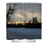 Mid March Sunrise Over Mississippi River Shower Curtain