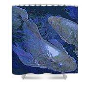 Midnight Blue Koi Shower Curtain