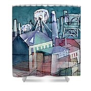 Midnight Colliery Original Watercolour Painting Shower Curtain