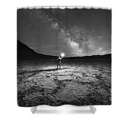 Midnight Explorer At Badwater Basin Bw Shower Curtain