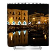 Midnight Silence And Solitude - Syracuse Sicily Illuminated Waterfront Shower Curtain