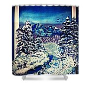 Midnight Winter Mountain Shower Curtain