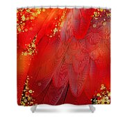 Midsummer Magik Fantasy Abstract Red Feathers, Gold Sparkles Shower Curtain