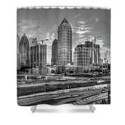 Midtown Atlanta Dusk B W Atlanta Construction Art Shower Curtain