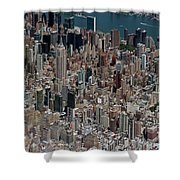 Midtown East Manhattan Skyline Aerial   Shower Curtain