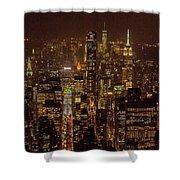 Midtown Manhattan Skyline Aerial At Night Shower Curtain