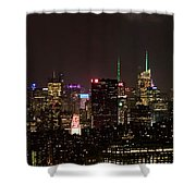 Midtown West Manhattan Skyline Aerial At Night Shower Curtain