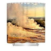 Midway Geyser Basin Steamy Sunrise Shower Curtain