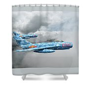 Mig 17s On The Hunt Shower Curtain