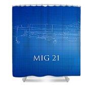 Mig 21 Blueprint Shower Curtain