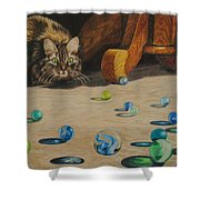 Mighty Hunter Shower Curtain by Karen Ilari