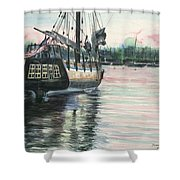 Mighty Ship Sleeping Shower Curtain