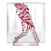 Mike Trout Los Angeles Angels Pixel Art 20 Shower Curtain