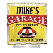 Mike's Garage Shower Curtain