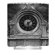 Milan Clock In Black And White Shower Curtain