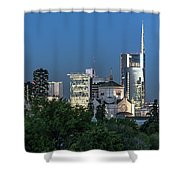 Milan Skyline By Night, Italy Shower Curtain