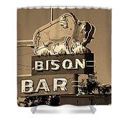 Miles City, Montana - Bison Bar Sepia Shower Curtain