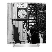 Miles City, Montana - Downtown Clock Bw Shower Curtain