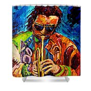 Miles Davis Hot Jazz Portraits By Carole Spandau Shower Curtain
